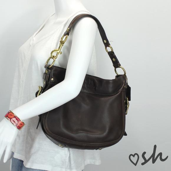 2c213de973f6 Coach Handbags - Coach Zoe Mahogany Dark Brown Leather Hobo 12671